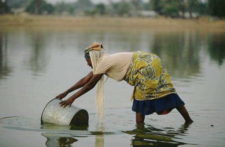 A woman collecting water from a lake used by cattle, northern Ghana
