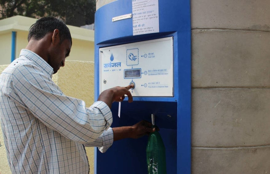 People can bring their own bottles to fill with water, which costs 20 paise per litre, or a fifth of a rupee. To buy bottled water of this quality would cost at least 15 rupees. The company says it believes the service is reaching people in poor areas except the very poorest ten per cent