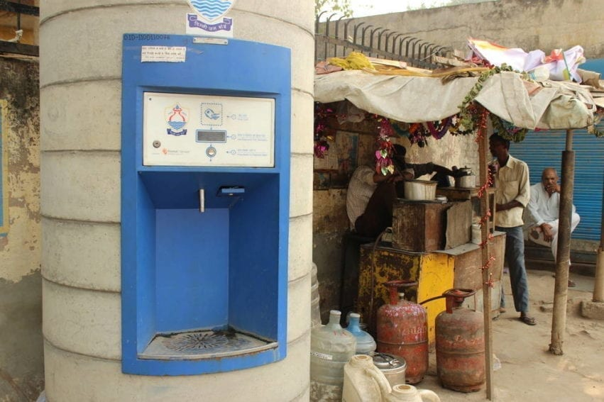 Under a proposal being considered by the government, and piloted in the same area of Delhi as this plant, the company will be contracted to run government-owned ATMs that dispense municipal water