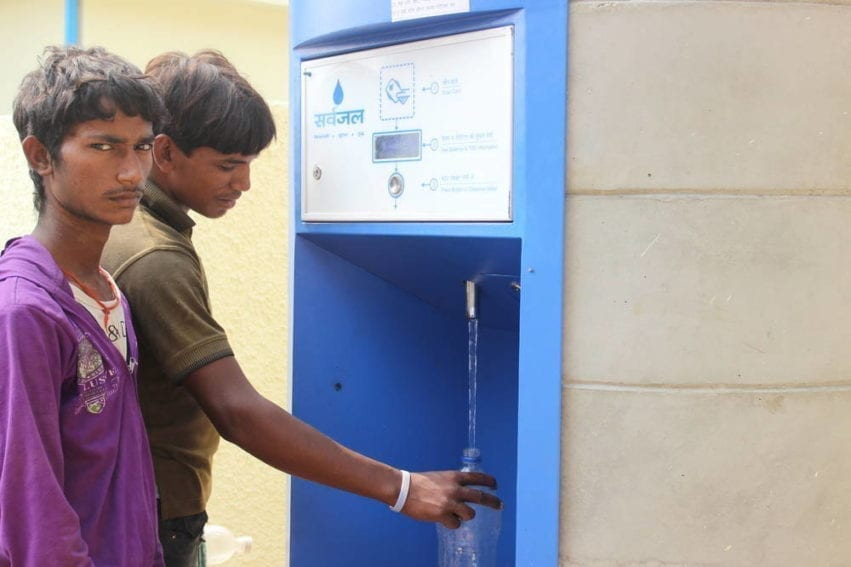 One of 24 ATMs being piloted across Delhi. The machine is located in Dwarka Sector 3 Resettlement Colony — an unplanned neighbourhood that lacks public services such as piped drinking water