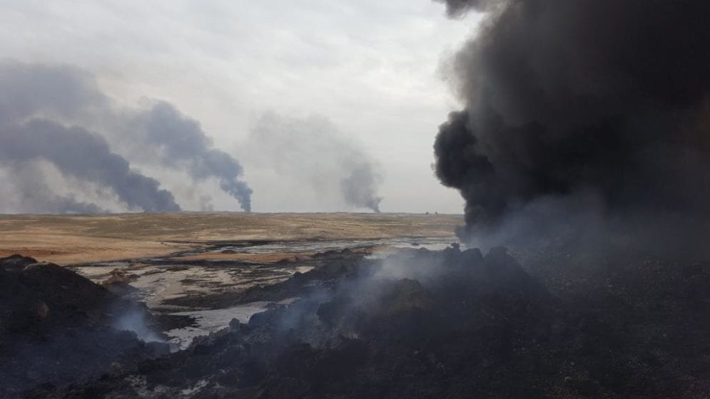 In February 2017 clouds of thick, black smoke plumed from the Qayyarah oilfields near Mosul