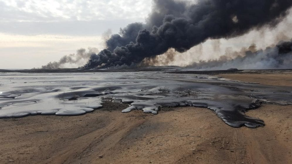 The site of the Qayyara oil wells that was set ablaze by ISIS late last year