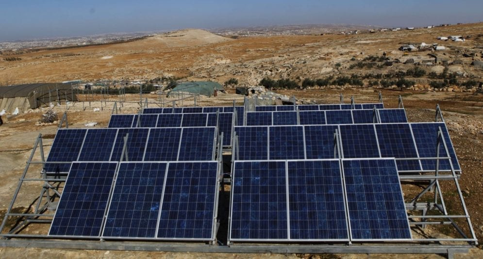 Solar panels in Sha'eb el Buttom. South Mount Hebron is particularly suited to renewable energy, says Comet-ME cofounder Elad Orian. It's on the edge of a desert, so very sunny, and 800 metres above sea level, so extremely windy. In the winter there are powerful storms, with wind speeds exceeding 150 kilometres an hour