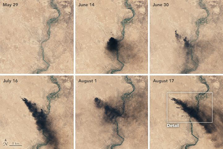Satellite photos taken in 2016 showing Qayyarah oil well located south of Mosul