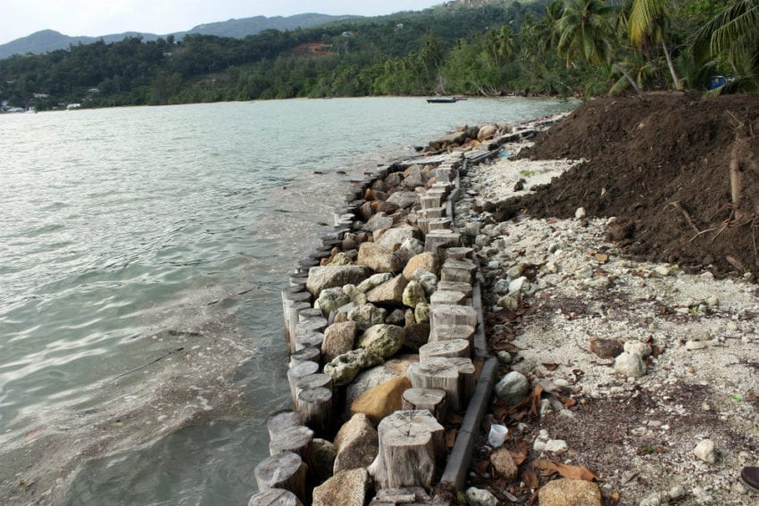 The Seychelles is tackling coastal erosion by building a non-intrusive wall along the coastline, and by creating a coastal community park for Seychellois and tourists
