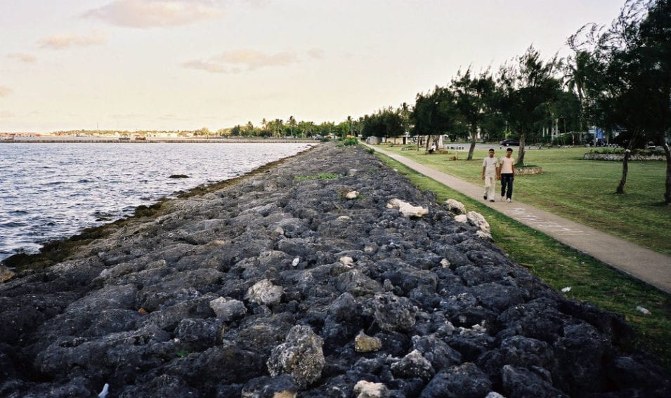 A coral wall in front of Tonga's low-lying capital Nuku'alofa. The wall provides recreational space and alleviates erosion. But how long will it last under rising seas?