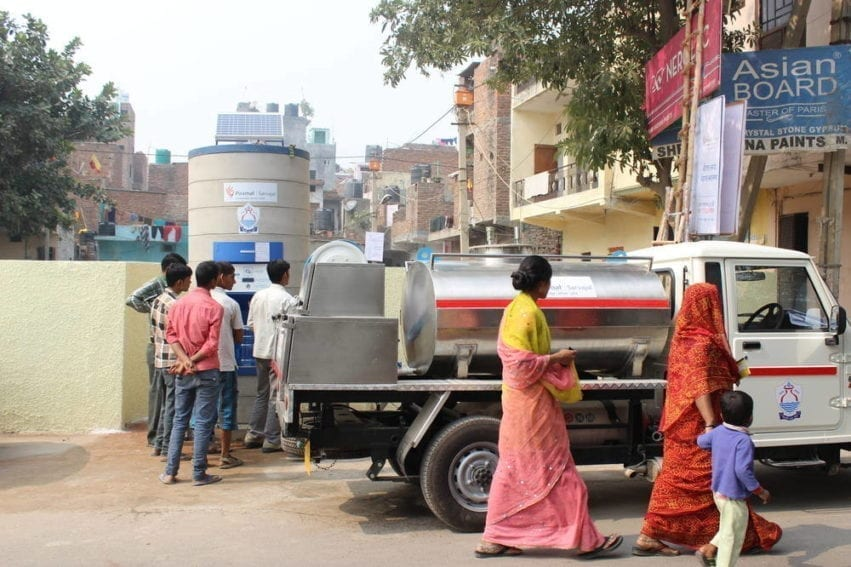 The ATMs are 2.2-tonne, solar-powered concrete structures that are connected to Sarvajal's server. Each can hold 500 litres of water. The company delivers water two to three times a day to five ATMs in the colony, serving around 2,000 families