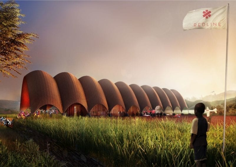 The drone port's aesthetics will be designed to be in harmony with local terrain. The vaulted structure will be made from bricks pressed from local raw materials. After some basic construction training, local people will be able to assemble the structures themselves, and the design allows multiple vaults to be linked depending on need.