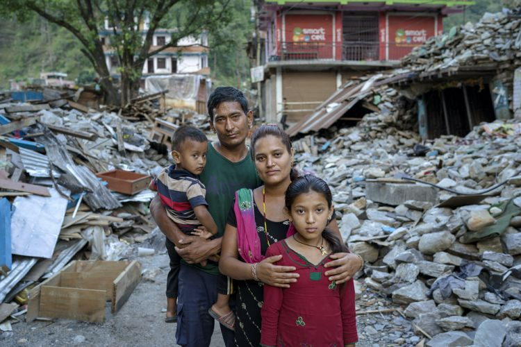 family whose home was completely destroyed