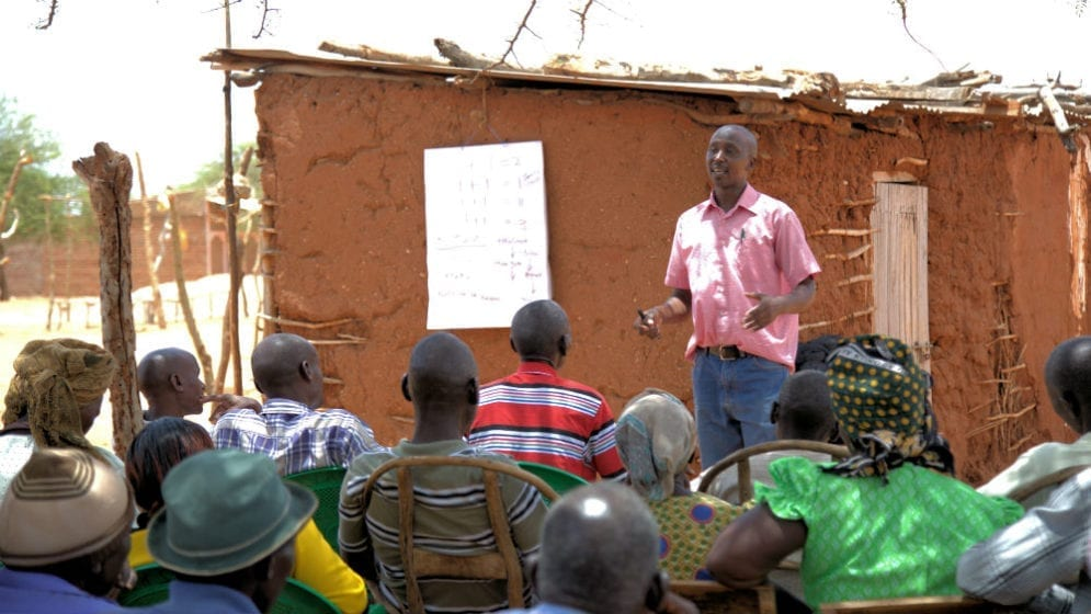 To help them cope with the situation, Farm Africa has initiated training projects and here project officer, Onesmus, is taking farmers through a session to equip them with knowledge on how to adapt