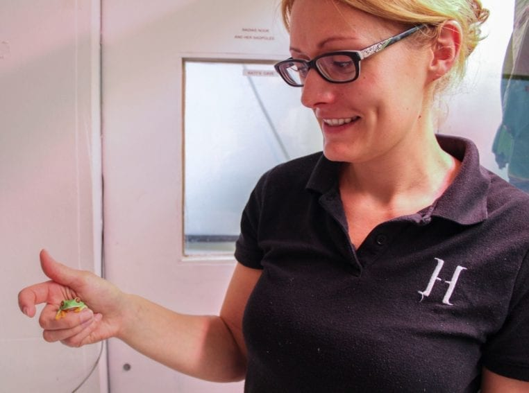 Michelle Davis, the deputy aquarium curator, holds a frog from the museum's terrarium. Here, each tank reproduces a specific microclimate suited to a particular frog species