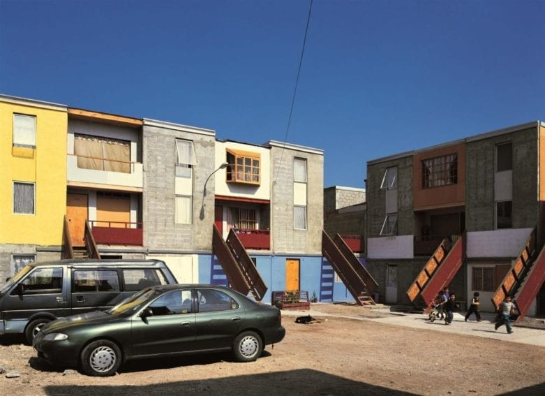 The houses of Quinta Monroy, Chile, at a later stage, after residents have added features to them