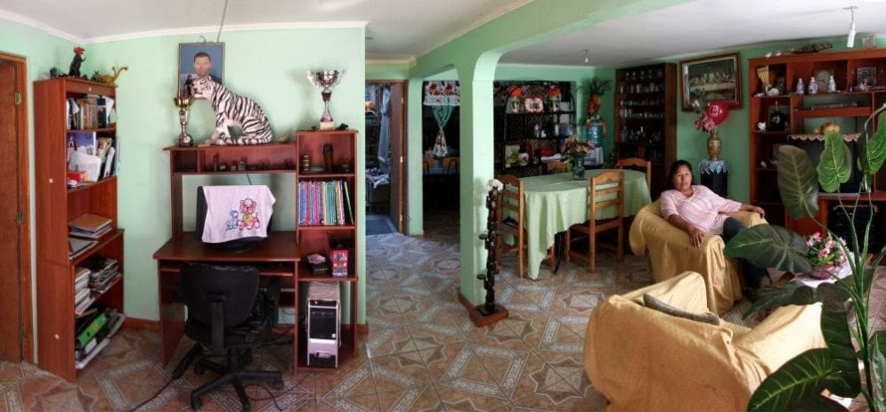 A Quinta Monroy home interior, after residents have moved in and developed the space