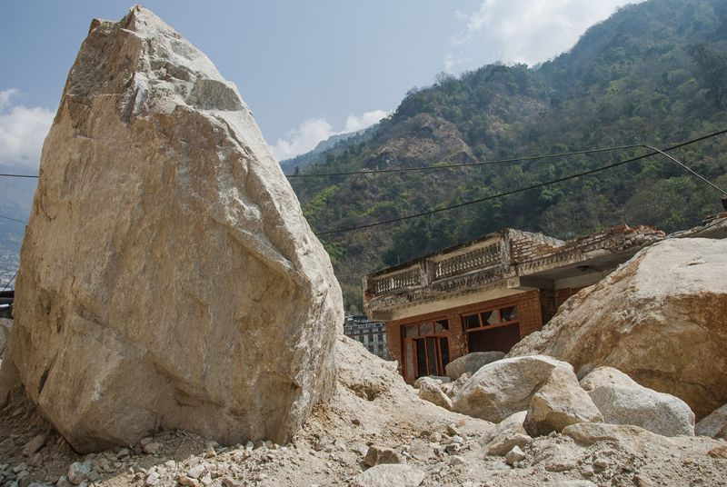 A house in the town of Kodari — a former Nepalese trade centre on the Araniko Highway near the border with China — survived the shaking during last year's earthquake, but was crushed by rockfalls. The quake triggered more than 10,000 landslides across the country