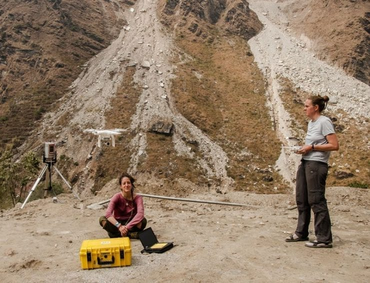 Scientists from the GFZ German Research Centre for Geosciences study landslide hazards near Chaku in northern Nepal. Sensors on the flying drone allow them to map the landslides and monitor debris movement