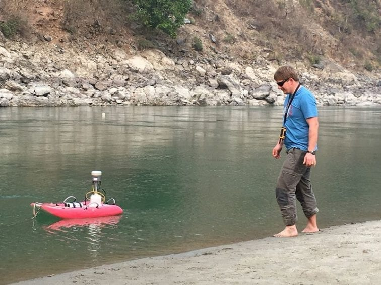 Christoff Andermann, a geologist at the GFZ German Research Centre for Geosciences, monitors river flow and sediment transport near Khurkot in central Nepal. Such studies help to estimate the movement of debris and groundwater from hillsides to rivers