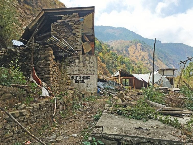 This hotel — called Pairo Landslide Hot Spring Guest House in the Langtang Valley, a popular trekking destination in northern Nepal — was built at a site highly prone to rockfalls. It was crushed by large boulders in the 2015 earthquake