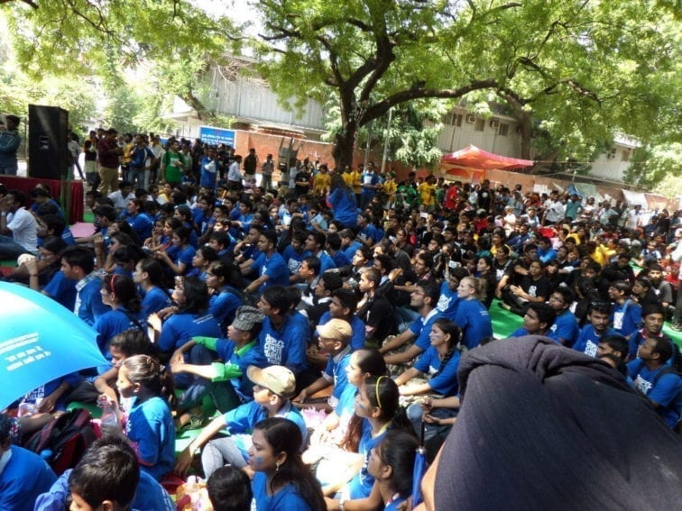 New Delhi. Gaily-coloured shirts and youthful faces were the order of the day.