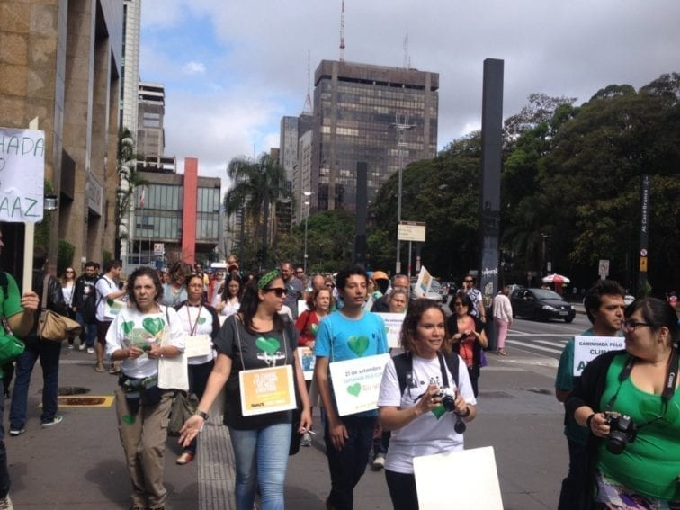 Sao Paulo. A green heart was the symbol of the Peoples Climate March in Brazil's biggest city, which has a population of more than 11 million.
