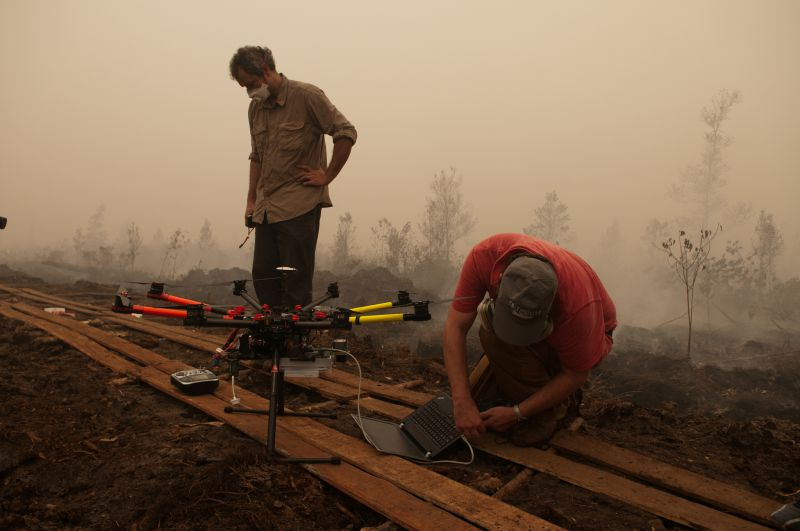 Unmanned Aerial Vehicle to fly over burning peat