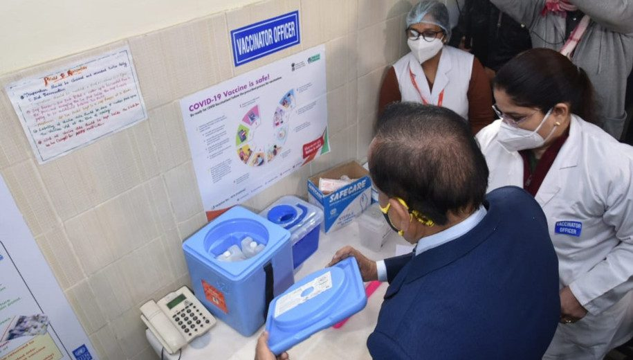 Harsh Vardhan,  Union Minister for Health and Family Welfare, Science & Technology and Earth Sciences,  visits the GTB Hospital in Delhi to review the preparations for the dry run of the COVID-19 vaccine administration.