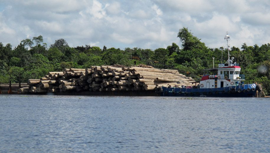 barge transporting logs - main