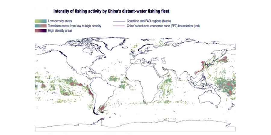 Intensity of fishing activity by China's distant-water fishing fleet