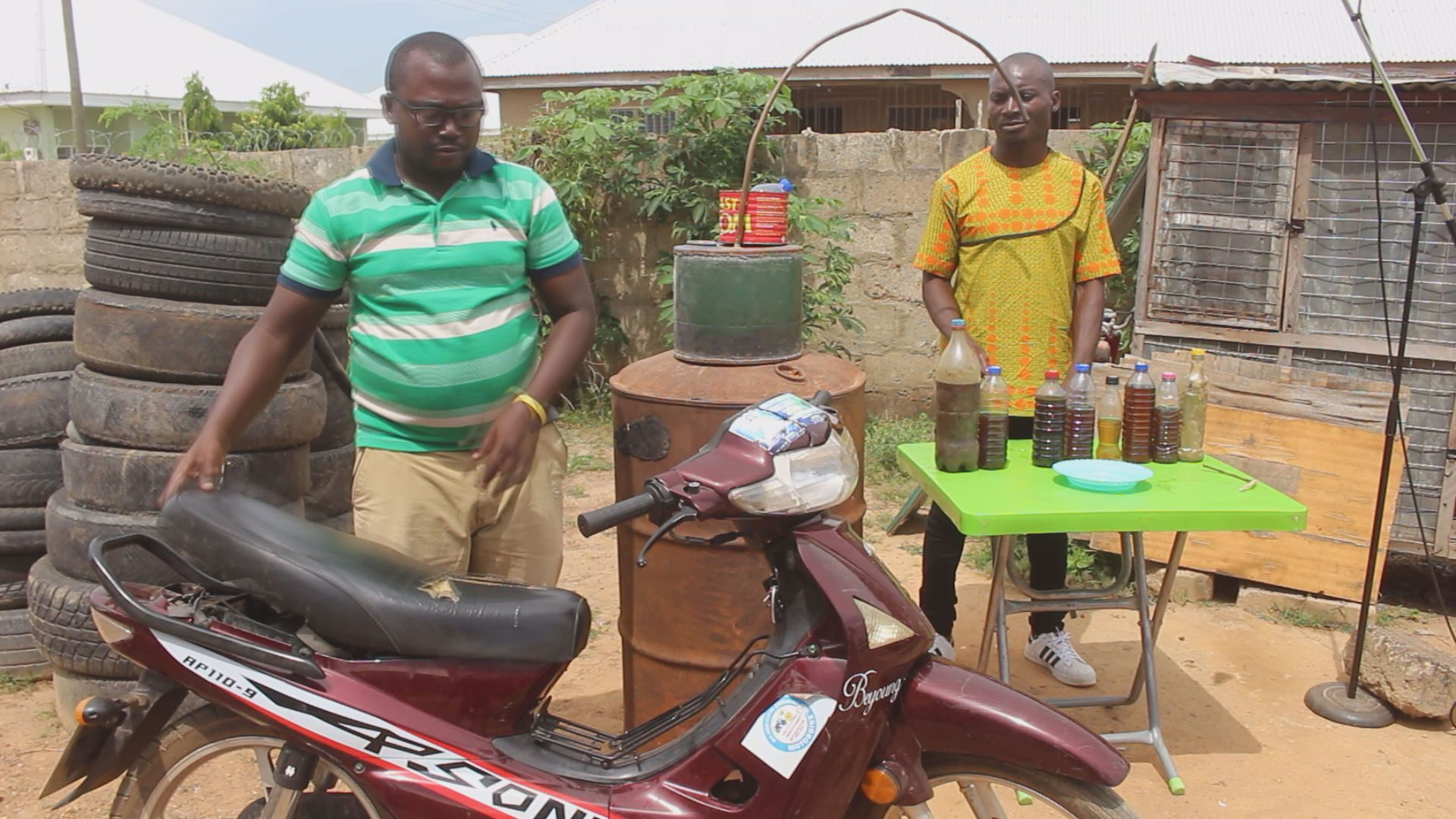 Picture 3- A customers at the factory to fuel his motor bike 3