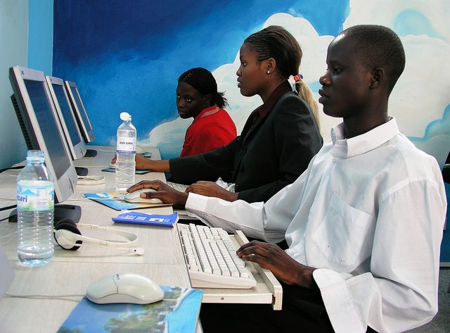 Internet cafe in Africa