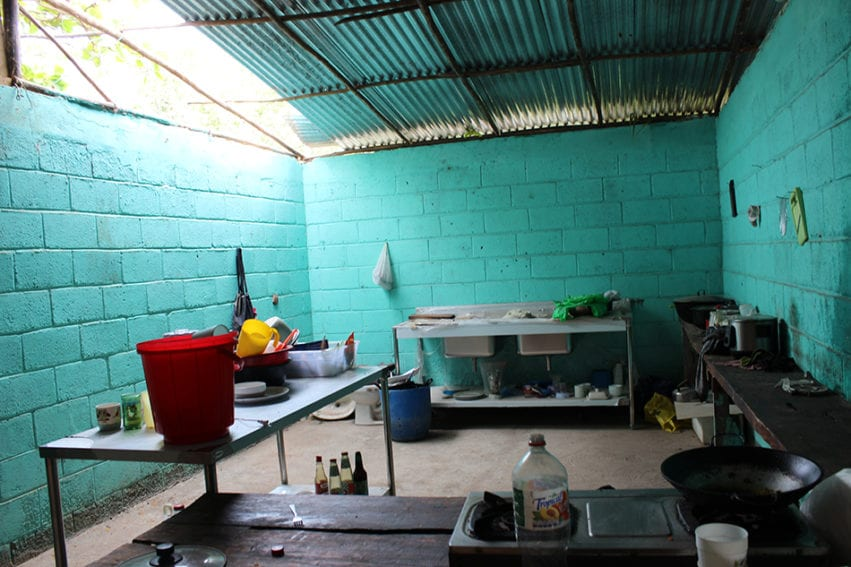 "A kitchen space set up by the women's cooperative. The plan was to open a restaurant for local fishers. It is ready – ""but we have a big problem"", says Jimenes Mora: there is no electricity. They say other enterprises have access, but their connection was refused on the grounds of the mangrove being a protected area."