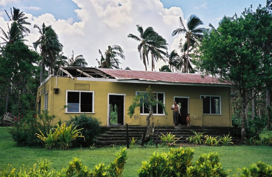 The roof on this house in Samoa was reported to have been damaged in a cyclone. Simple construction and maintenance techniques can prevent damage to housing in a disaster