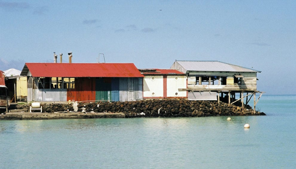 Living at sea level in Samoa. The practice of extending housing into the ocean may be considered an adaptation to pressures such as population density, or a maladaptation to climate change risks such as cyclones and rising seas