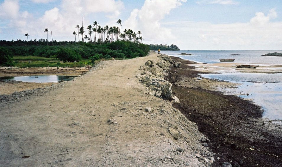 A sea wall in the northwest of Tonga's main island, Tongatapu. The sea could one day bypass it, or undermine and wash it away, but there are few alternatives for protecting the land behind