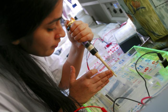 conducts tests in a laboratory at the Tuberculosis Research Centre
