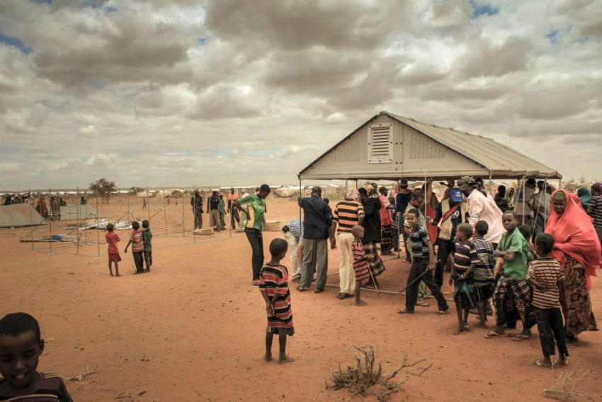 Refugees building a prototype Better Shelter in Hilaweyn Refugee Camp, one of a group of camps in southern Ethiopia close to the border with Somalia, in 2013. More than 630,000 refugees live in camps around Ethiopia