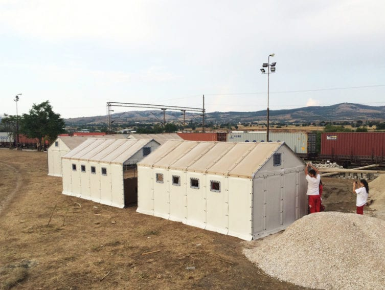 Shelters being assembled in Macedonia. The shelters cater for the hundreds of asylum seekers who arrive in the country every day and wait in transit to travel to other destinations across Europe