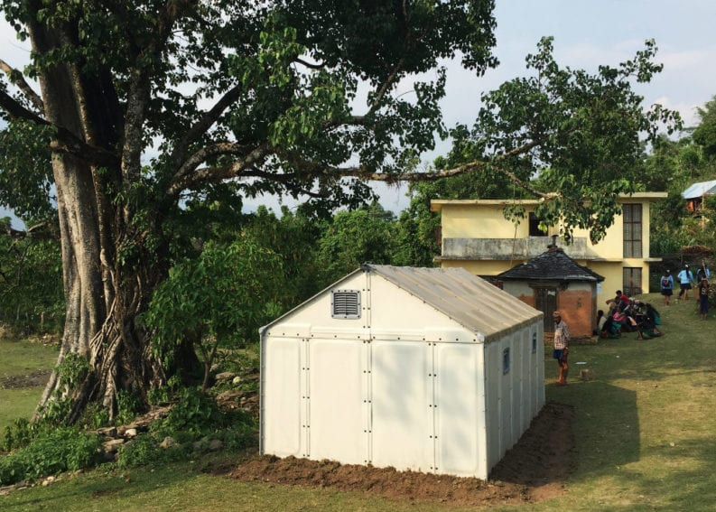 A Better Shelter set up after the April earthquake to host temporary healthcare facilities. Units can be joined together to make larger buildings such as schools and health centres