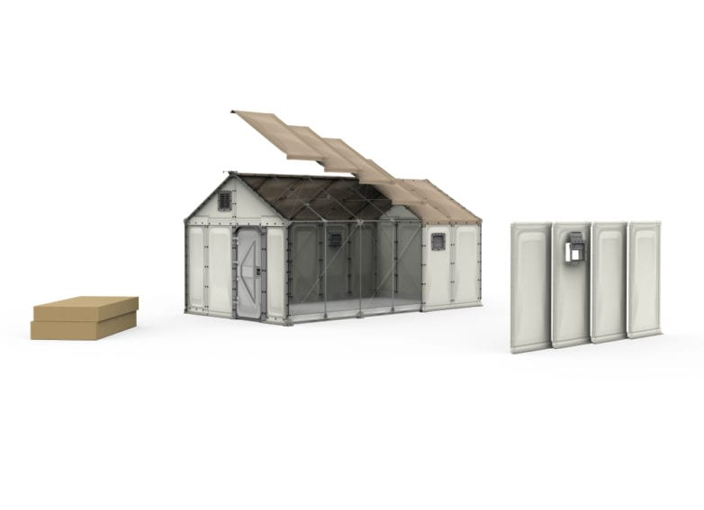A graphic of the shelter's structure. Refugees can choose where they want doors and windows to go. The shelters are made from polypropylene, which is lightweight and insulating, and is better than tent fabric at surviving in strong sunlight