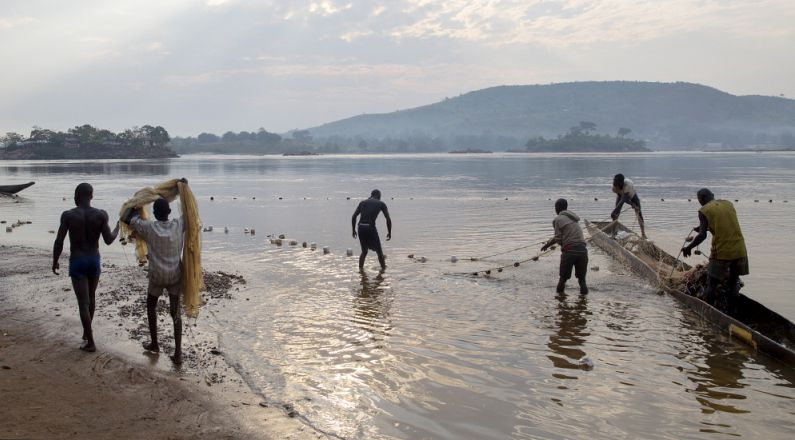 Fishermen on the Oubangui River in the early morning