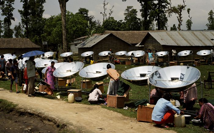 Local residents with their new solar cookers