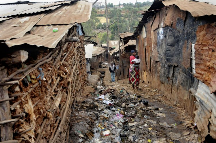 Open sewer in the slums