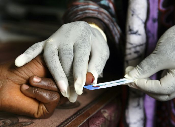 Rapid HIV test at a clinic