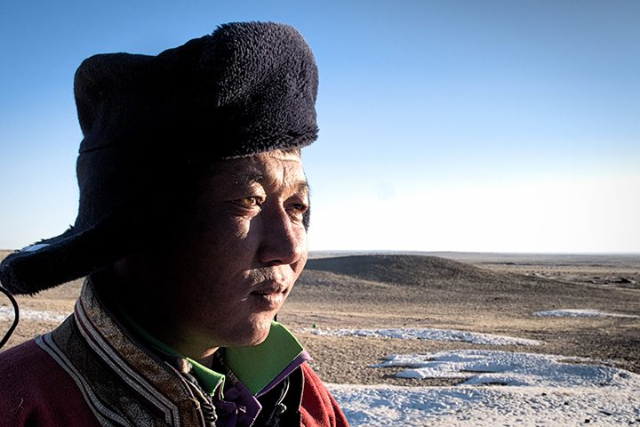 A Mongolian herder. Communities in the Gobi Desert, like those on the shores of Southern Madagascar, rely on the natural world to survive in remote areas and a changing environment. Their resilience strategies are strikingly similar.
