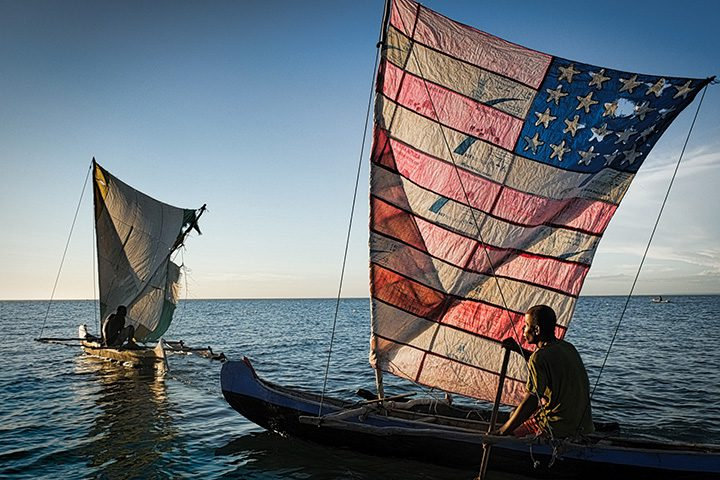 A pair of pirogues in Madagascar. Moving is fundamental for both working and socialising. Fishers often meet in the middle of the ocean — as Mongolian herders meet in the desert — to exchange views on how the environment is changing.