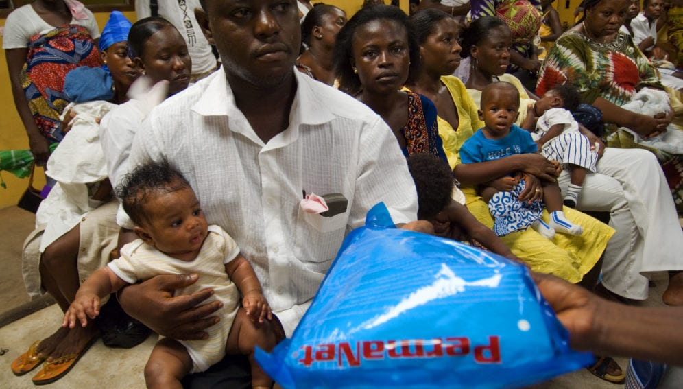 Families receiving malaria bed nets