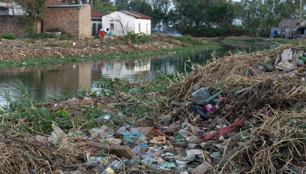 Plastic pollution banks of rivers lake victoria