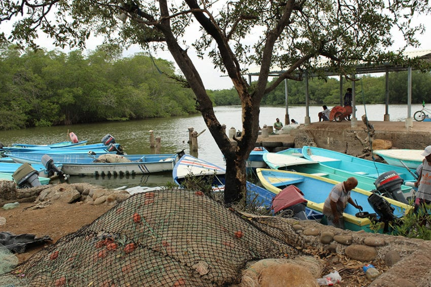 The docking area in Chomes, a fishing community of 3000 people near Puntarenas, on Costa Rica's Pacific coast. The coast has a mix of developed areas where tourism thrives, and underdeveloped areas where poverty persists.