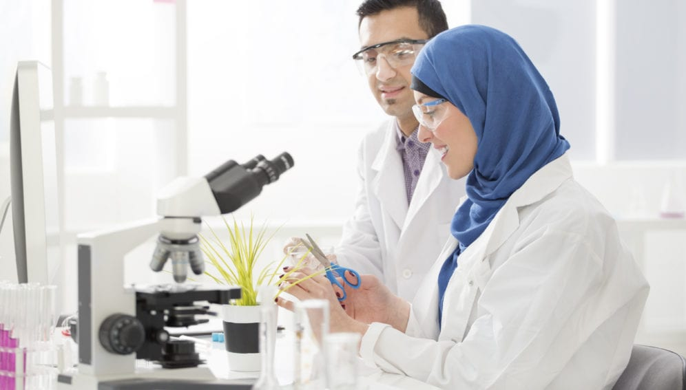 Middle Eastern scientists working in a lab. mena report